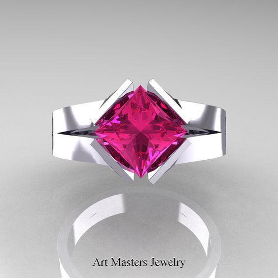 Neomodern 14K White Gold 1.5 CT Princess Pink Sapphire Engagement Ring R389-14KWGPS