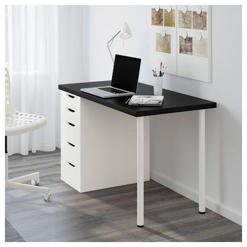 Linnmon Alex Table Black Brown White Ikea Home Office Desks Ikea Home Office Furniture