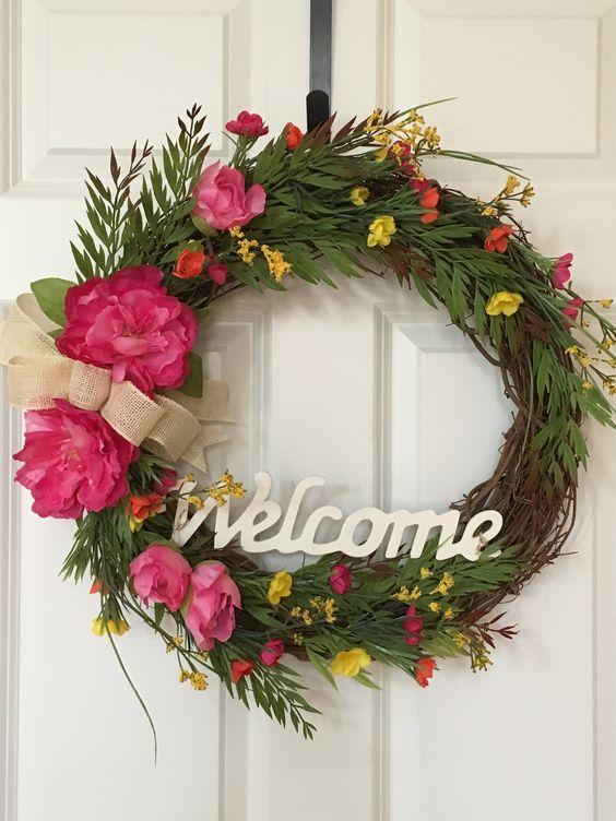 Summer Wreath, Front Door Wreath, Everyday Wreath, Door Decor, Peony Wreath, Grapevine Wreath, Wreath, Housewarming Gift, Welcome Sign, Home