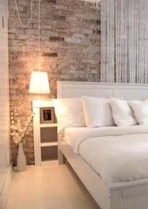 vintage wall in modern bedroom: