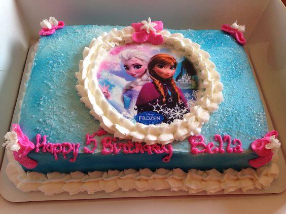 Edible Frozen Image 1 4 Sheet Cake Airbrushed Buttercream Cake Decorating Airbrush Cake Frozen Birthday Cake