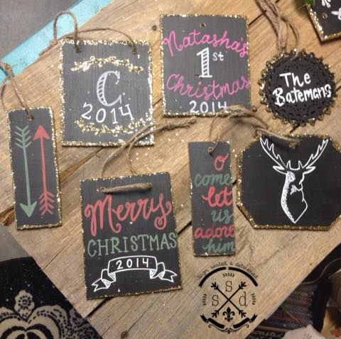 Handmade custom ornaments! Made by Sign, Sealed & Delivered. #chalkboard #centralcoast #custom #merrychristmas  Email me at ssd.katie@gmail.com to place an order :)