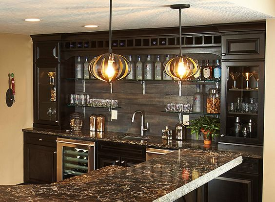 Basement bars basements and bar on pinterest for Bar with cabinets under