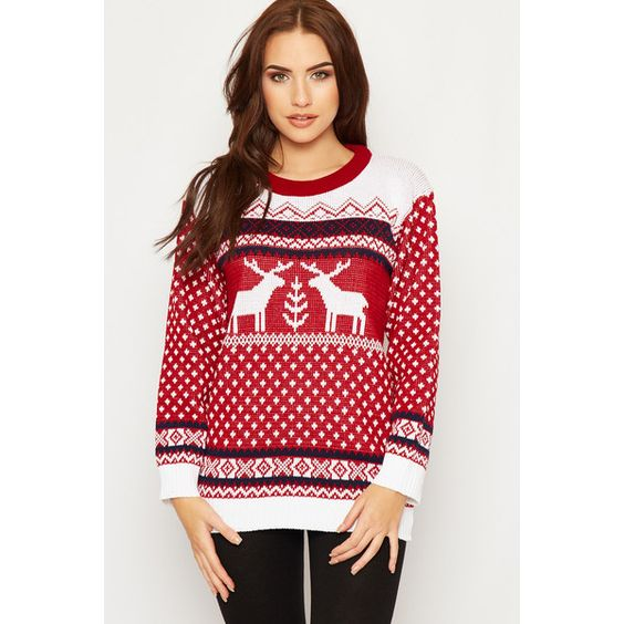 Marcela Knitted Fairisle Christmas Jumper ($33) ❤ liked on Polyvore featuring tops, sweaters, red, long sleeve tops, fairisle jumper, red sweater, red christmas sweater and red long sleeve top
