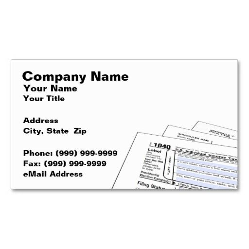 Federal Tax Forms Business Card Business cards, Card templates - federal tax form