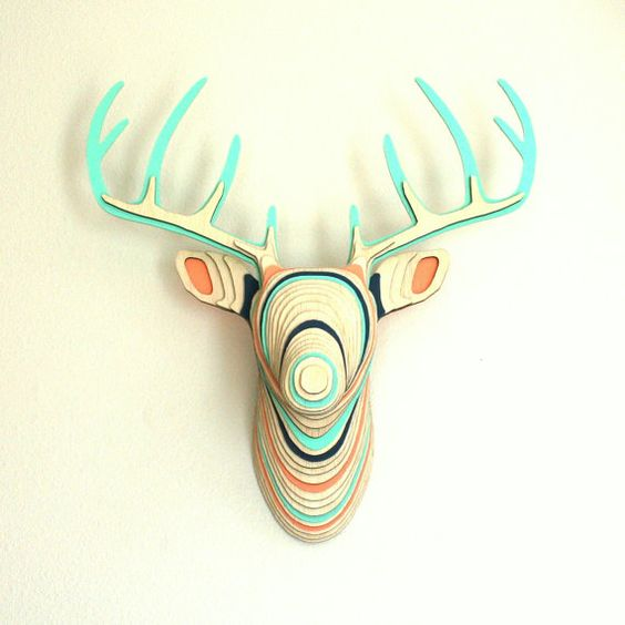 Wood Deer Head - Natural Navy Coral Mint Faux by theTOPOshop