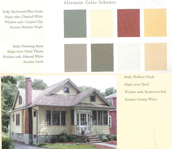 Exterior bungalow colors exteriors pinterest for Bungalow paint schemes