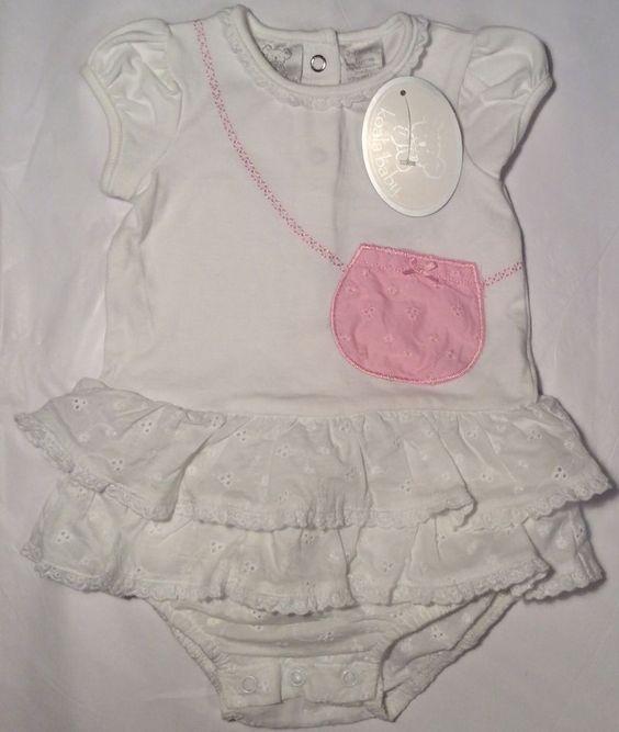 NWT New Koala Kids Baby Girl 3-6 Month M Bubble White Infant Romper Eyelet Lace
