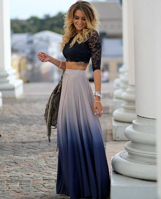 ombre maxi skirt with crop top