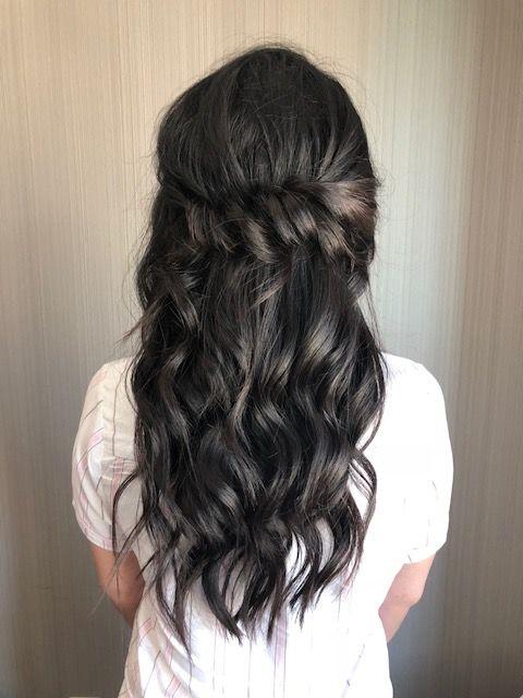 Long Dark Hair Glam Waves Boho Waves Curls Half Up Half Down Bridesmaid Bridal Hair Bridesmaid Hair Long Long Dark Hair Half Up Hair