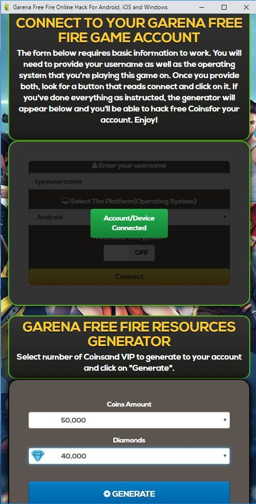 Free Fire Online Generator Tool : online, generator, Diamond, Rvbangarang.org