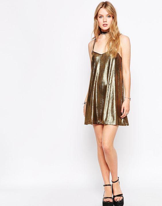 Image 4 ofMotel Swallow Tail Metallic Cami Dress