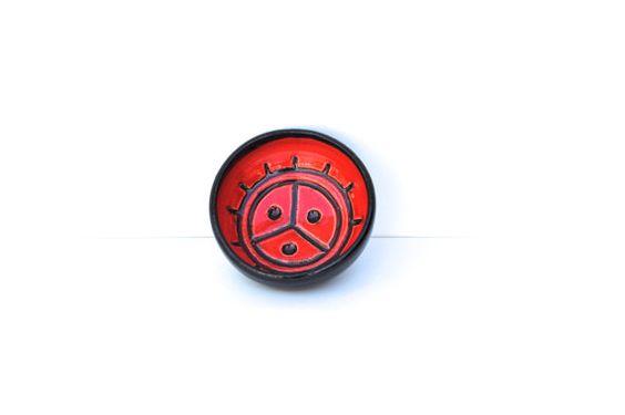 Sun ceramic bowl - red ceramic bowl - jewelry dish - ashtray - prep bowl: handmade ceramic bowl in vibrant red and black