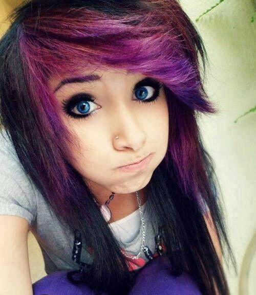 Purple And Black Scene Hair