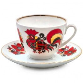 Red Roosters Teacup w/ Saucer