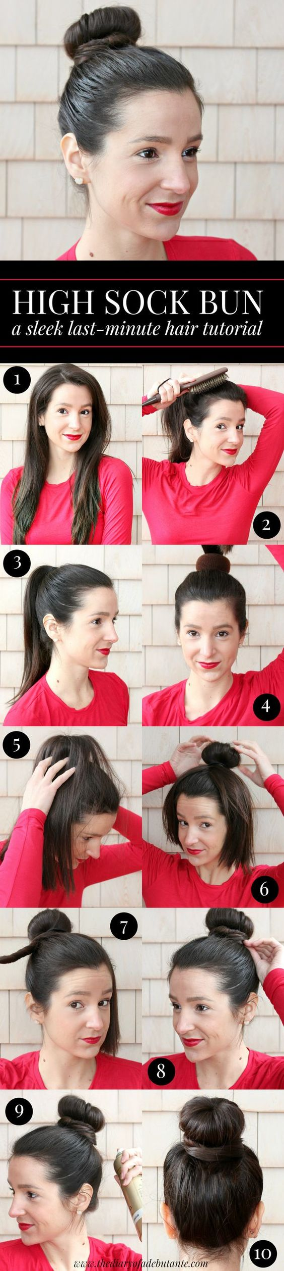 Sleek high sock bun hair tutorial. This quick and easy updo hairstyle works best with 2nd day hair and takes no more than 3 minutes with the right glosser paddle brush.
