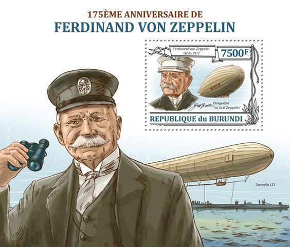 """BUR 13219 b Ferdinand Von Zeppelin, (""""Graf Zeppelin"""" dirigible )."""