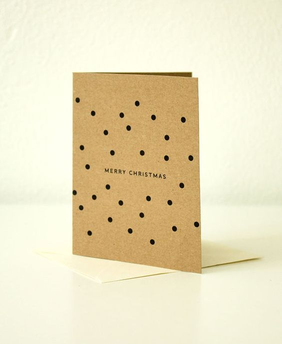 Kraft Merry Christmas with Dots  Christmas Card Qty by SoftandLoud, $2.50
