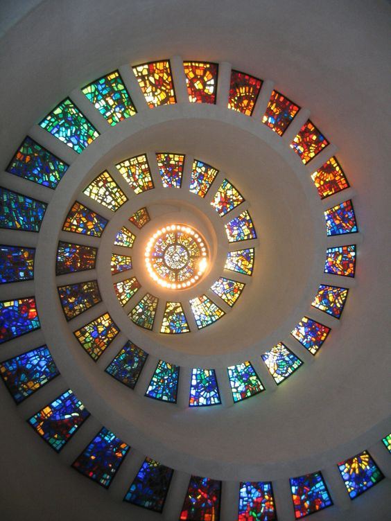 Spiral Inspiration: Ceiling of chapel at Thanksgiving Square in Dallas, Texas, by Claudia A. De La Garza: