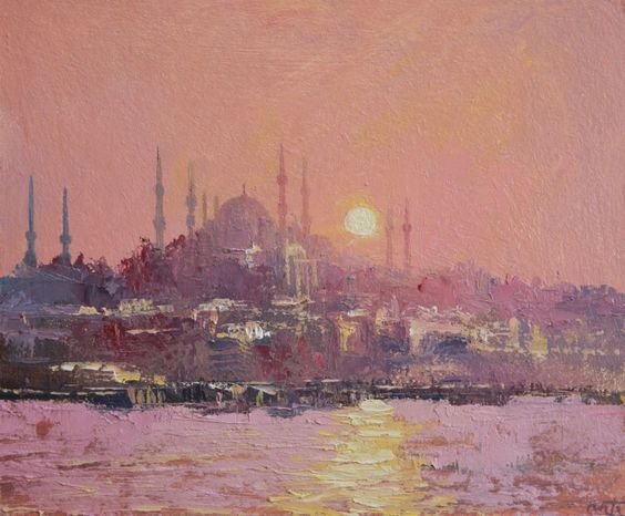 The blue Mosque, Istanbul Oil painting by Roberto Ponte | Artfinder