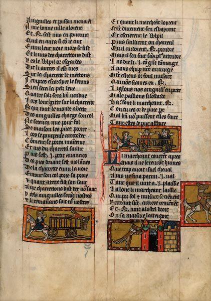 BnF : Le Roman de Renart - dossier pédagogique Renart et les anguilles   début du XIVe siècle