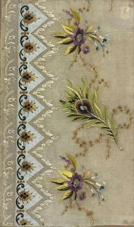 Jean-François Bony, embroidery sample for a dress hem, linen batiste, silk embroidery, with silk satin appliqués and silk tulle inserts, 1804-1815