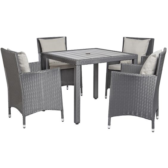 Angelo home napa estate grey 5 piece square indoor outdoor dining set by angelohome home Angelo home patio furniture