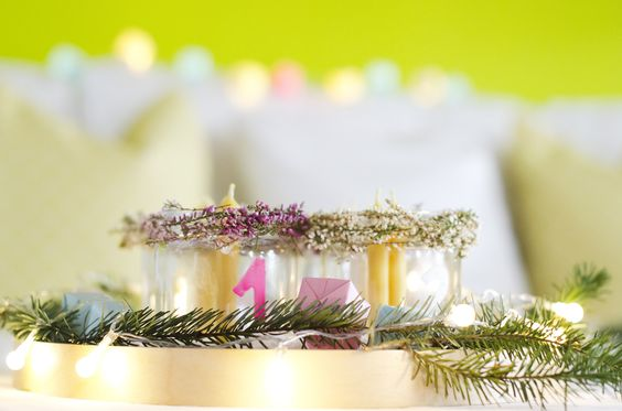 Modern Interior Winter Decoration Advent wreath Light
