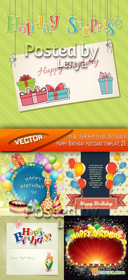 Stock Vector - Happy Birthday postcard template 25 Indesign - postcard template