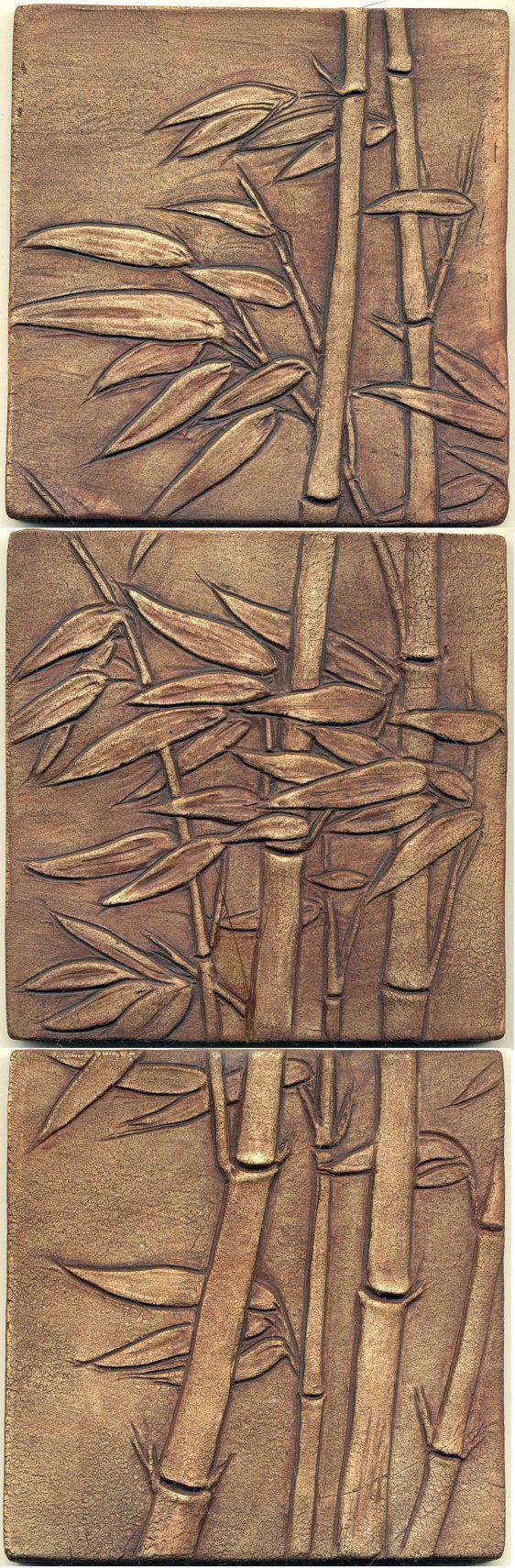 "Asian style Windblown Bamboo Tiles   Set of 3 Tiles  18"" x 6"""