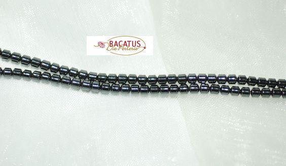 Hämatit Perlen kleine Walzen schwarz silbrig glänzend  3 mm, 1 Strang