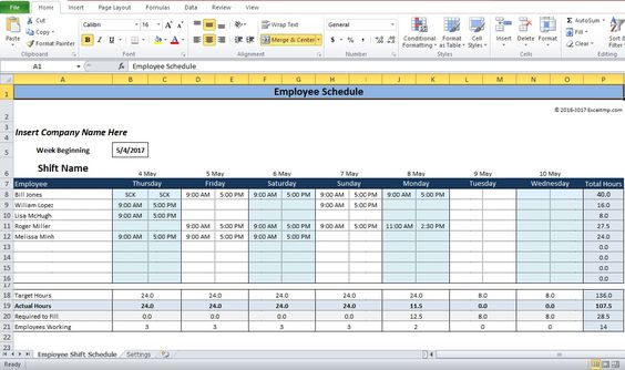 Employee Shift Schedule Generator Excel Template Company - shift schedule template