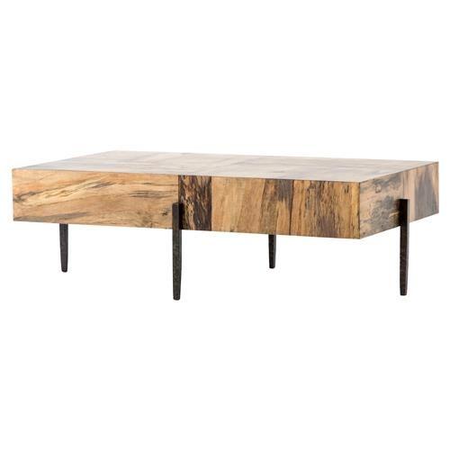 Julius Modern Rectangular Slab Wood Top Slim Black Iron Coffee Table Coffee Table Iron Coffee Table Round Wood Coffee Table