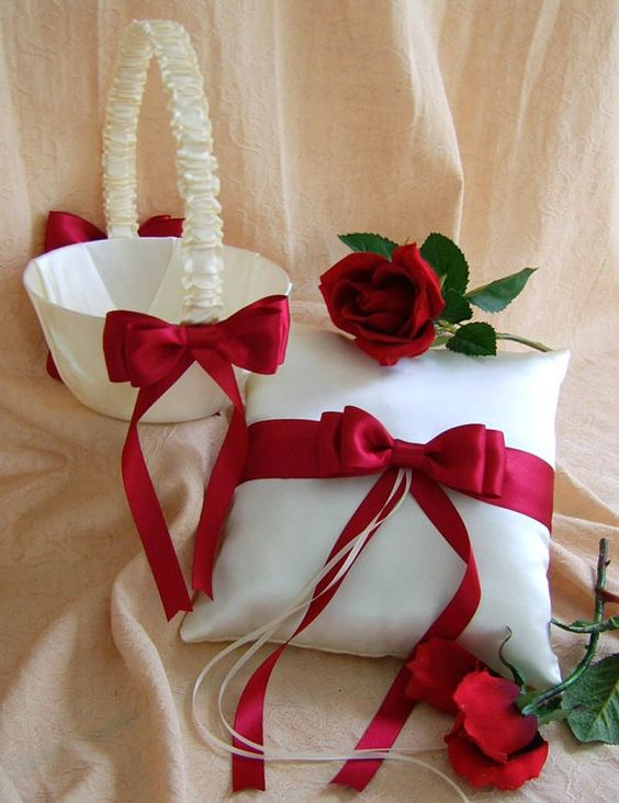 Flower girl baskets how to decorate : Red and white wedding flower girl basket ring bearer