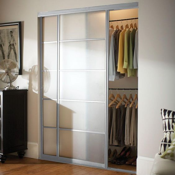 Contractors Wardrobe Silhouette 96 in. x 81 in. Bright Clear 5-Lite Mystique Glass Aluminum Interior Sliding Door-SI5-9681BC2X - The Home Depot