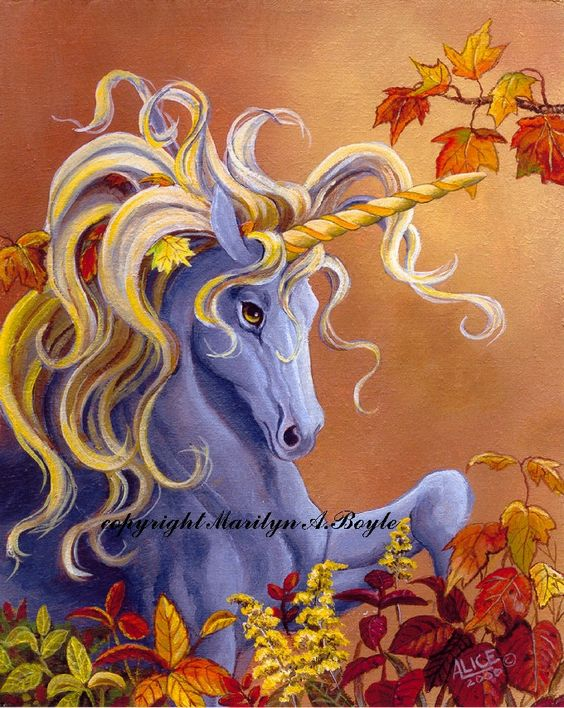 GICLEE PRINT - UNICORN; silver unicorn with golden mane, autumn leaves, warm color, 8 x 10 inches, wall art, fantasy by OriginalSandMore on Etsy