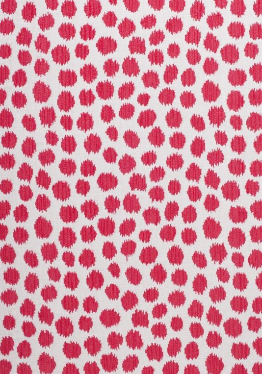Sarah Spot Outdoor Fabric A playful woven fabric with striped animal spots in contrasting peony pinks on an off-white ground.