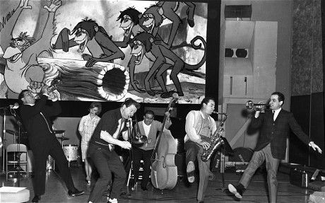 Louis Prima, Sam Butera and the Witnesses recording Disney's The Jungle Book. (Disney)