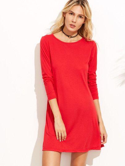 Vestido manga larga con bolsillo - rojo