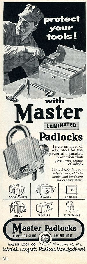 Master Lock Company No. 5 Laminated Steel Padlock Protect Your Tools print advertisement in Popular Mechanics October 1962, page 214