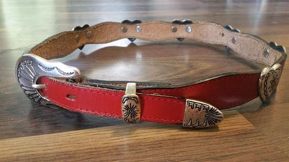 "3D Belt ""DDD"" Red Top Grain Leather & Heart Conchos Western Belt Women's 26 XS #3DBelt #Western"