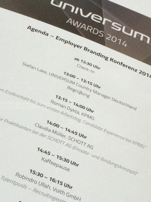 Die Universum Employer Branding Conference und Awardverleihung 2014 in Stuttgart