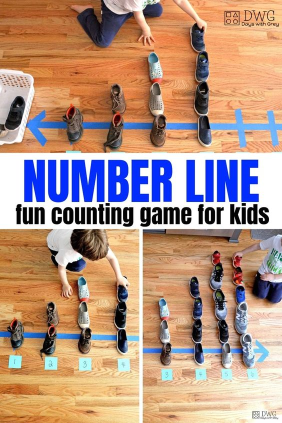 Make a number line with painter's tape and old shoes! A fun hands-on learning math game for Kindergarten you can play at home today.