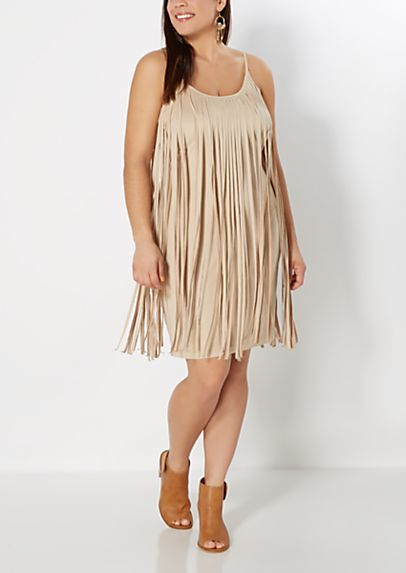 Plus Fringed Faux Suede Dress | rue21