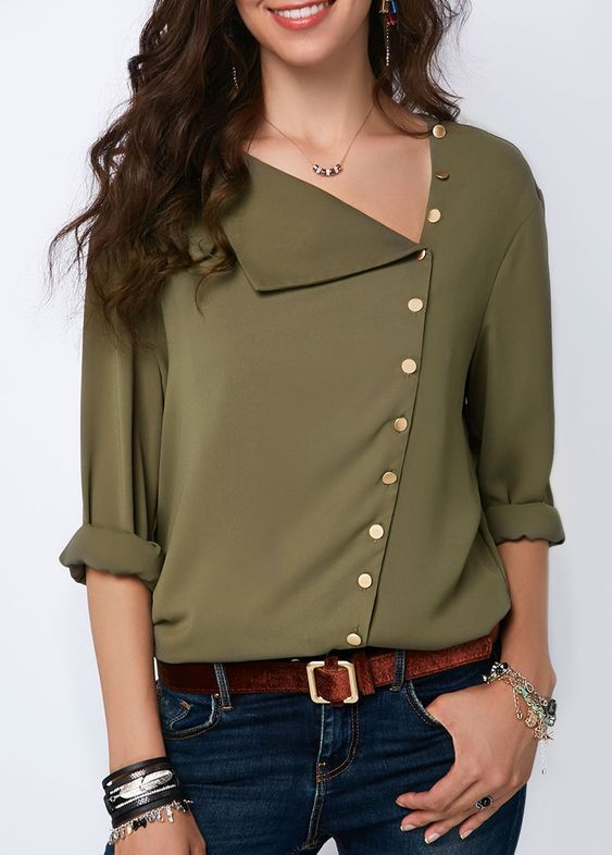 صور أجمل وأرق بلوزات حريمي مجلة تمر هندي Army Green Blouse Trendy Tops For Women Stylish Tops For Girls