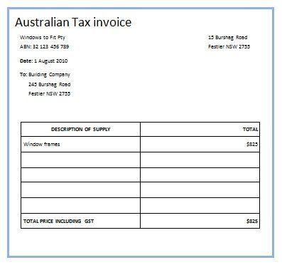 Australian Tax Invoice 7 Austrialian Tax Invoice Templates - invoice with gst template