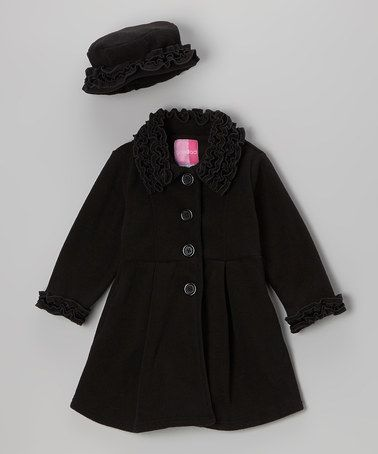 Another great find on #zulily! Black Ruffle Coat & Hat - Toddler & Girls #zulilyfinds