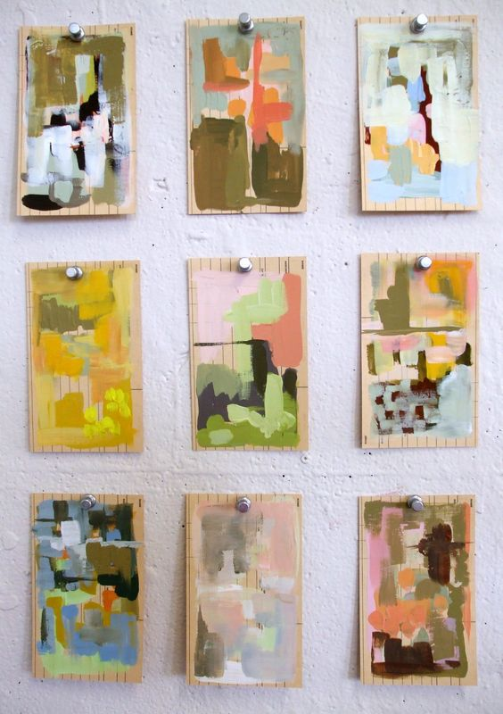 a play on artist trading cards by Nicole B. I thought these were switch plate covers at first -would be a neat DIY art project