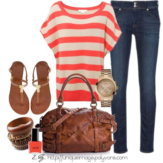 Everyday Outfit: Casual Outfit, Summer Outfit, Coral Stripes, Dream Closet, Striped Tops, Fall Outfit, Everyday Outfit