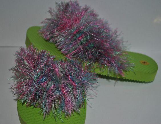 Fuzzy Wuzzy Flip Flops - Sherbet. $10.00, via Etsy.